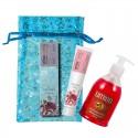 UMIDO Beautyset mit Handlotion 45 ml Granatapfel-Extrakt + Flüssigseife 315 ml Granatapfel inklusive Organza-Säckchen