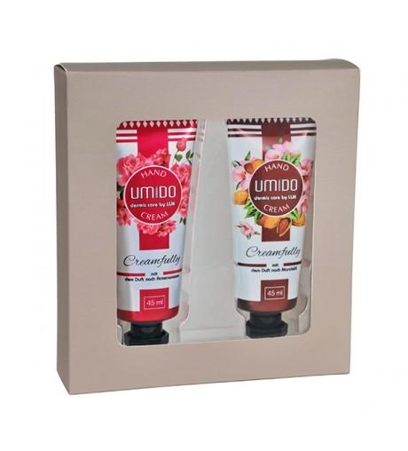 UMIDO Beautyset mit Handcreme 45 ml Rosenwasser + Handcreme 45 ml Mandelöl inklusive Geschenk-Box