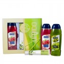 UMIDO Beautyset mit Duschgel 250 ml Olive + Handlotion 45 ml Oliven-Extrakt + Duschgel 250 ml Granatapfel