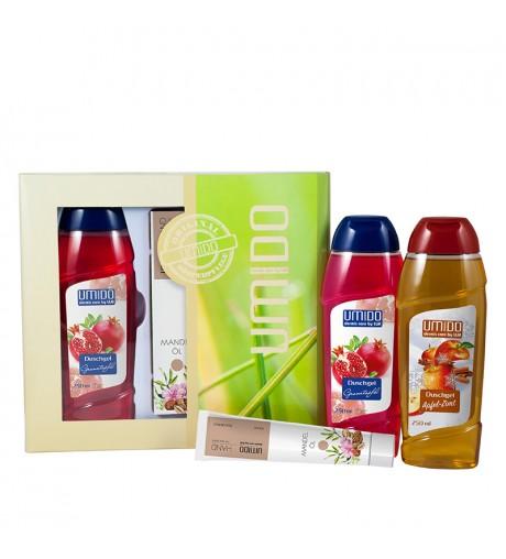 UMIDO Beautyset mit Duschgel 250 ml Granatapfel + Handlotion 45 ml Mandelöl + Duschgel 250 ml Apfel-Zimt