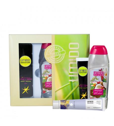 UMIDO Beautyset mit Handlotion 45 ml Patchouli & Ylang Ylang + Duschgel 250 ml Kokos + Fußpflegecreme 45 ml Kamillen-Extrakt