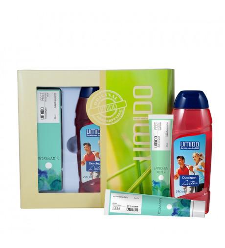 UMIDO Beautyset mit Fußpflegecreme 45 ml Latschenkiefer-Extrakt + Duschgel 250 ml Activ + Fußpflegecreme 45 ml Rosmarin-Extrakt