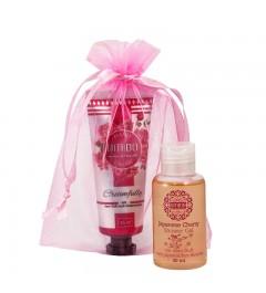 UMIDO Beautyset mit Handcreme 45 ml Rosenwasser + Duschgel 50 ml Japanische Kirsche inklusive Organza-Säckchen