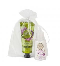 UMIDO Beautyset mit Handcreme 45 ml weiße Blumen, Sommergras, Gartenfrüchte + Duschgel 50 ml Macadamia + Organza-Säckchen