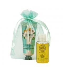 UMIDO Beautyset mit Handcreme 45 ml Honig-Pfirsichblüte + Duschgel 50 ml Moringa inklusive Organza-Säckchen