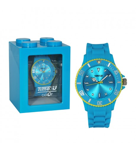 Armbanduhr Time2U blau-gelb