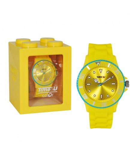 Armbanduhr Time2U gelb-blau