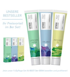 UMIDO 3er Set BESTSELLER - Fußpflegecreme 45 ml - Latschenkiefer-Extrakt + 10% UREA + Avocadoöl