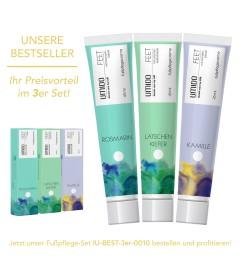 UMIDO 3er Set BESTSELLER - Fußpflegecreme 45 ml - Rosmarin-Extrakt + Latschenkiefer-Extrakt + Kamillen-Extrakt