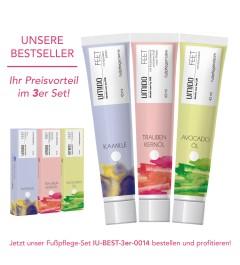 UMIDO 3er Set BESTSELLER - Fußpflegecreme 45 ml - Kamillen-Extrakt + Traubenkernöl + Avocadoöl