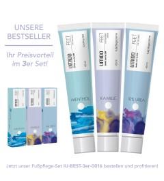 UMIDO 3er Set BESTSELLER - Fußpflegecreme 45 ml - Menthol + Kamillen-Extrakt + 10% UREA
