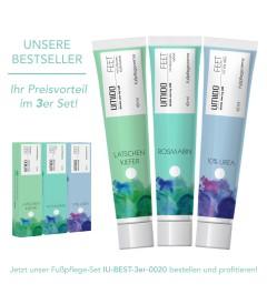 UMIDO 3er Set BESTSELLER - Fußpflegecreme 45 ml - Latschenkiefer-Extrakt + Rosmarin-Extrakt + 10% UREA