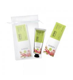 UMIDO Beautyset mit Handcreme 30 ml Rosen- & Rhabarber-Extrakt inklusive Organza-Säckchen