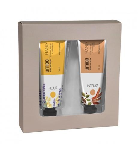 UMIDO Beautyset mit Handcreme 30 ml Honig-Extrakt und Lavendelöl + Handcreme 30 ml Kardamom- und Sandelholz-Extrakt