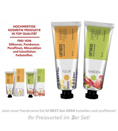 UMIDO 2er Set BESTSELLER - Handcreme 30 ml - Honig-Extrakt & Lavendelöl + Rosen-Extrakt & Rhabarber-Extrakt
