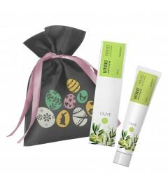 UMIDO Beautyset | 1x Handlotion 45 ml Olive | 1x graues Non-Woven-Säckchen